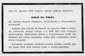 Smútočné oznámenie o tragickom úmrtí Jána Cibuľu uverejnené v časopise Náš poštár č. 1/1949. Poštové múzeum Banská Bystrica
