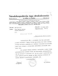 Dokument o začatí rokovaní o projekte sanatória v Španej Doline.